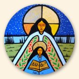 The image here, painted by Aaron Parquette, of Saint Anne comes from Canada where she is seen as emboding the honoured grandmother figure. At the end of July many First Nations people make a pilgrimage to Lac Ste. Anne in Alberta for spiritual, cultural and social rejuvenation, central aspects of traditional summer gatherings for indigenous peoples in Canada.